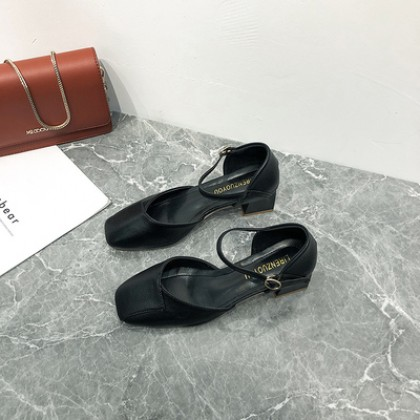 Women Fashion Square-toe Thick-heeled Casual Shoes