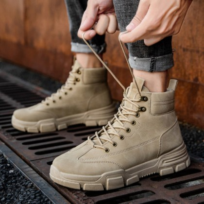 Men Mid-cut Snow Lace-up British Style Military Boots