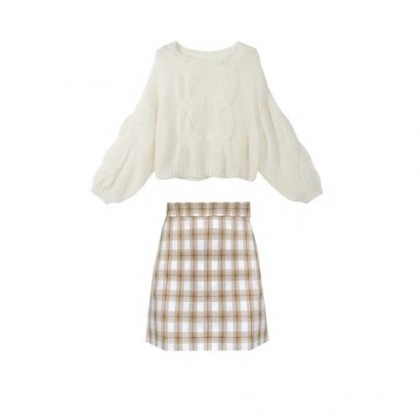 Women Clothing  Western Style Shirt Plaid Skirt Two-piece Suit