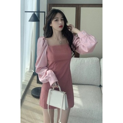 Women Clothing New Pink Sweet French Square Collar Dress