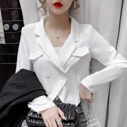 Women Clothing Western Style Suit Short Coat Irregular Long Sleeve Top