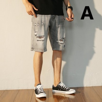 Men Clothing  Street Fashion Five-point Loose Casual Denim Shorts