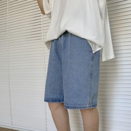 Men Clothing Straight Loose Casual Denim Shorts