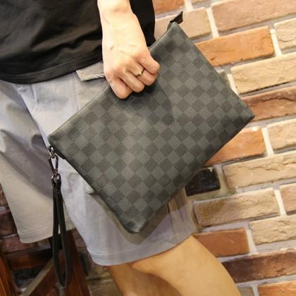 Men Fashion Lattice Checkered Envelope Clutch Bag
