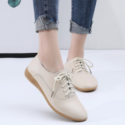 Women Fashion All-match Casual Lace-up Leather Shoes