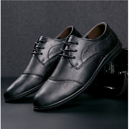 Men New Trend Non-slip Leather Lace-up Shoes