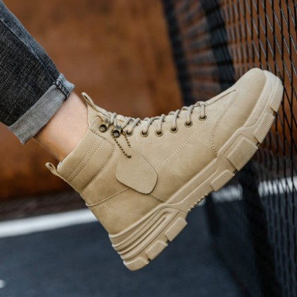 Men Lace-up Military Mid-cut Lace-up Boots