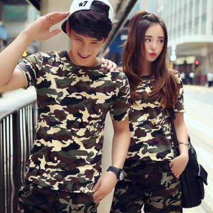 Men Women Couple Camouflage Short Sleeve T-shirt