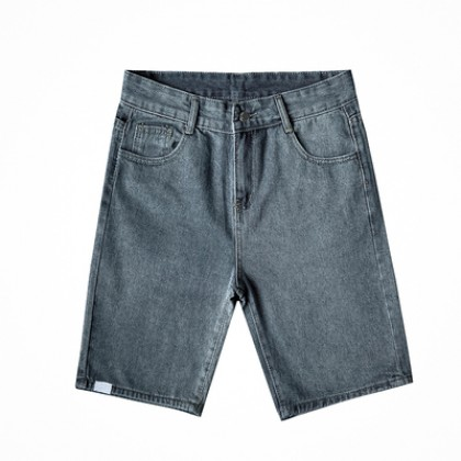 Men Clothing Summer Loose Casual Straight Five-point Denim Pants