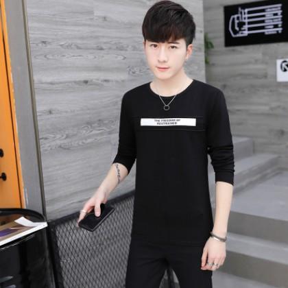 Men Basic Design Round Neck Long Sleeve T-shirt