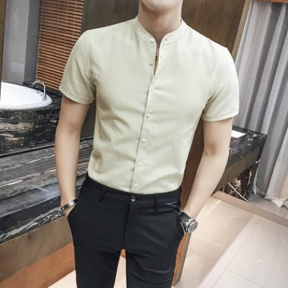 Men Business Slim Fit Short Sleeve Shirt