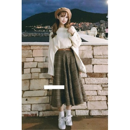 Women Clothing College Style Knitted Sweater and Plaid Skirt  Two-piece Suit