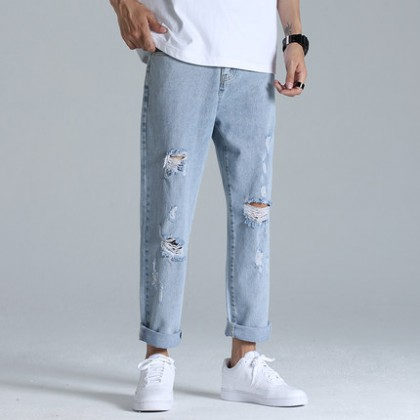 Men Clothing Ripped Casual Wide-leg Denim Trousers