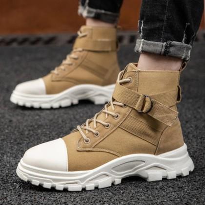 Men Fashion High-top Canvas Short Boots