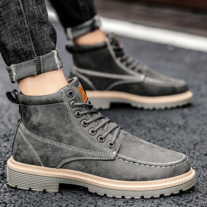 Men British Style Fashion High-top Leather Short Boots
