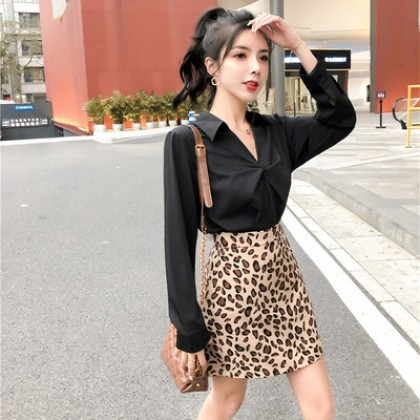 Women Clothing Working Professional Two-piece Suit Leopard Skirt