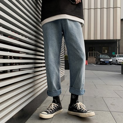Men Clothing Korean Style Trendy Jeans Wide-leg Casual Trousers