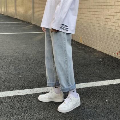 Men Clothing All-match Straight Loose Retro Denim Pants