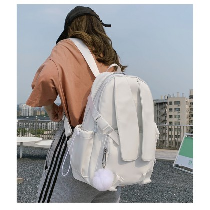 Women College Style Computer Leather Backpack