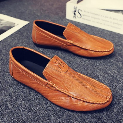 Men Fashion Summer Breathable Trend Leather Peas Shoes