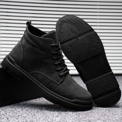 Men Breathable British Trend Work and Casual Mid-top Boots