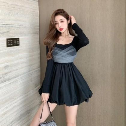 Women Clothing Western Style Mesh Long-sleeved Black Dress