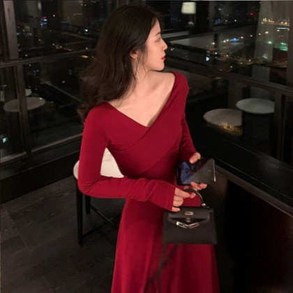 Women Clothing Western Style Long-sleeve Evening Dress Two-piece Suit