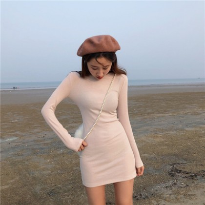 Women Clothing Knitted Long-sleeved Tight-fitting Dress