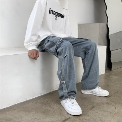 Men Clothing Trendy Casual Straight Wide-legged High Street Jeans