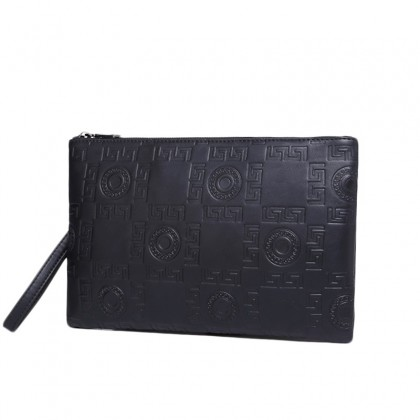 Men Business Casual Envelope Embossed Leather Clutch Bag