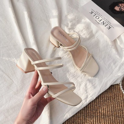 Women Fashion Thick High-heeled Casual Half slippers