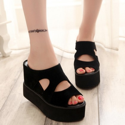 Women Fashion Thick-soled High-heeled Waterproof Platform Casual Half slippers
