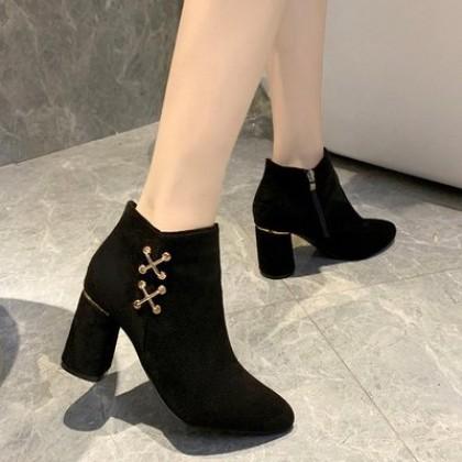 Women Fashion High Heels Winter Thick Heel Boots