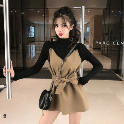 Women Clothing Sweater and  Suspender Skirt Mid-length Dress