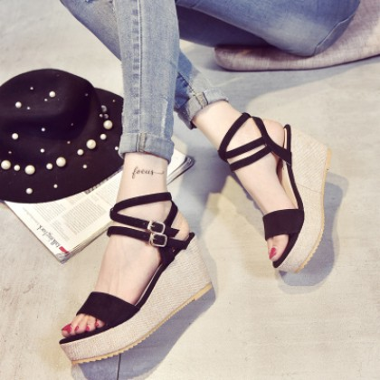 [READY STOCK] Women Rome High Heel Sandals Wedges
