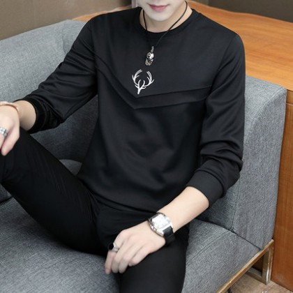 Men Clothing Long-sleeved Round Neck Casual Handsome Shirt