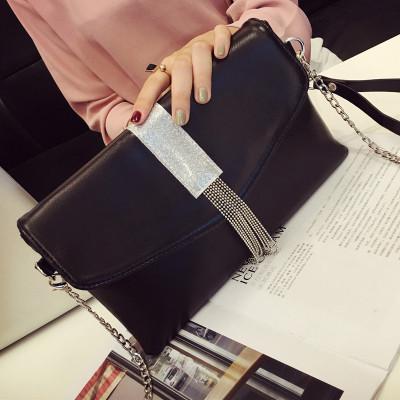 Women Shining Silver Tassel Dinner Handbag