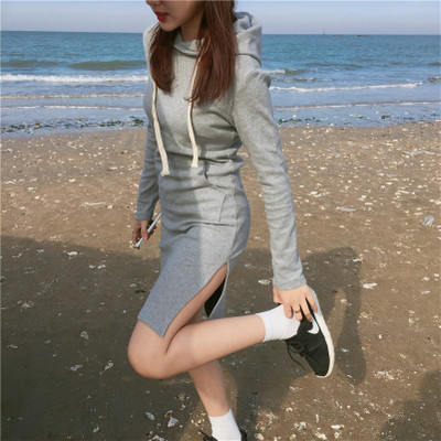 Women Korean Sexy Cool Hoodies Dress