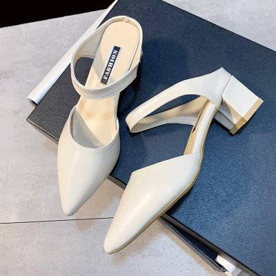Women Pointed Thick Heel Slippers Sandals