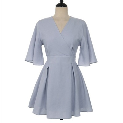 Women Clothing French Retro V-neck Cotton and Linen Dress
