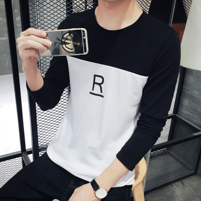 Men R Letters Two Color Long Sleeve T Shirts 5d5353cf5b4