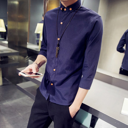 Men Pure Color Button Long Sleeve Shirts