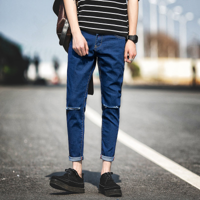 Men Korean Slim Casual Long Pants Jeans