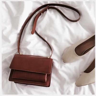 Women Korean Retro PU Leather Sling Bag