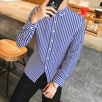 Men Straight Stripes Long Sleeve Shirts