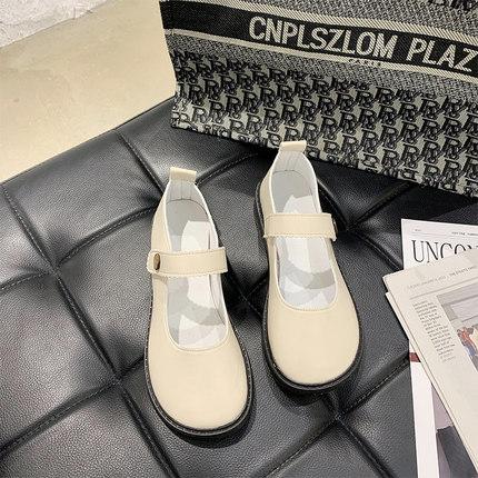 Women Fashion Japanese Retro Style Flat Bottom Leather Shoes