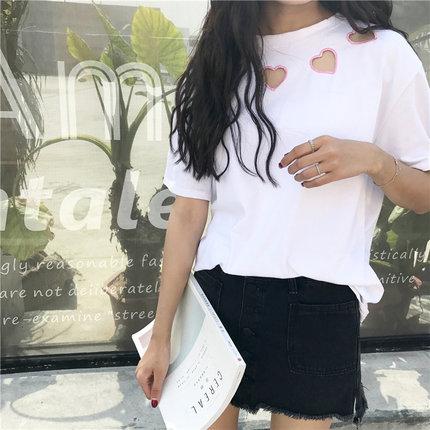 Women Cute Love Shape Short Sleeve T-shirt