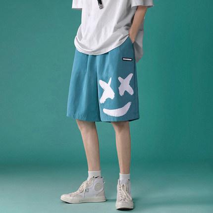 Men Clothing Casual Smiley Print Straight Loose Shorts