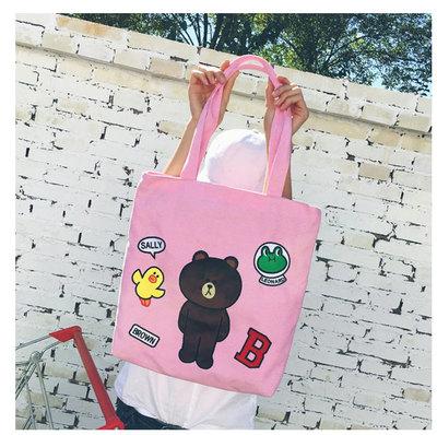 Women Cartoon Line Brown Canvas Shoulder Bag