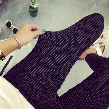 Women Plus Size XXXL Stripes Elastic Casual Long Pants